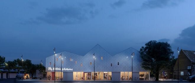 Det nye bibliotek og kulturhus i Viby Sjælland bliver inspireret af det tidligere mejeri, som lå på grunden. Det ses blandt andet på facadens lyse klinker, der minder om mejeriets indvendige vægfliser, og på tagkonstruktionen.