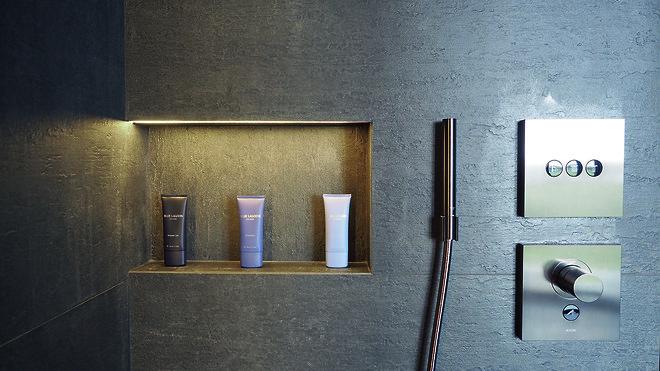AXOR ShowerSelect termostater med AXOR Stavhåndbruser i badet