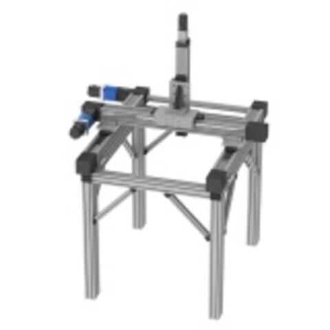 Portal med item-stativ og lineærmoduler fra Aluflex System