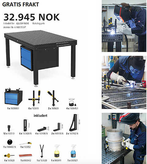Tilbud plasmanitrert sveisebord system 16, 1500x1000mm - Gratis frakt