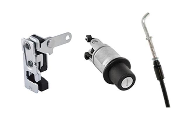 Rotary Latch System R4 lås från Aero Materiel med lås, vajer och knapplås för enkel montering.