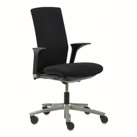 Kontorstol. håg. sort ryg, sort polster, armlæn og grå base.