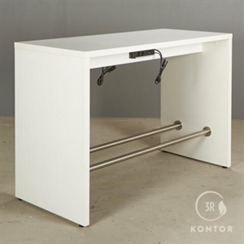 Højbord. hvid laminat med 2 fodhvilere.