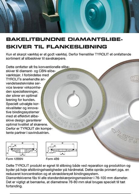 Savskærpning, bakkelitbundne diamantslibeskiver til flankeslibning