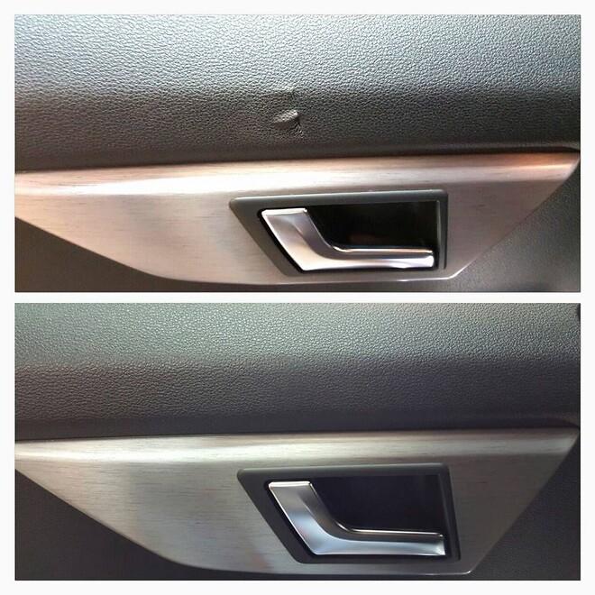Vinylreparation av en skadad bildörrsida