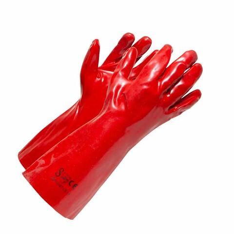 Rød PVC handske lang