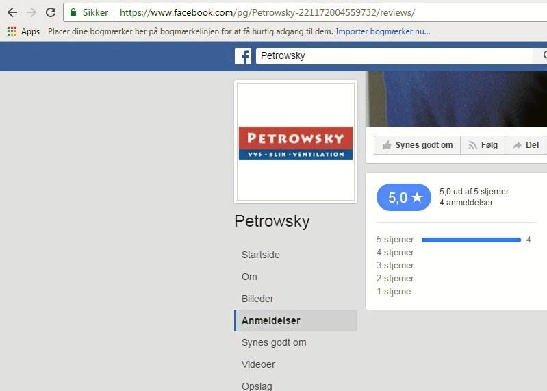 d59e202a3420 Vejle-installatøren Petrowsky har endnu ikke modtaget dårlige anmeldelser  på Facebook. (Screendump fra Facebook)