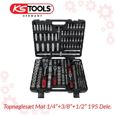 Topnøglesæt Mat 1/4″+3/8″+1/2″ 195 Dele.