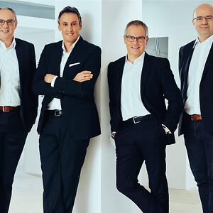 Hansgrohe Groups direktion (fra venstre mod højre): Frank Semling, Hans Jürgen Kalmbach (Direktør), Reinhard Mayer, Christophe Gourlan.
