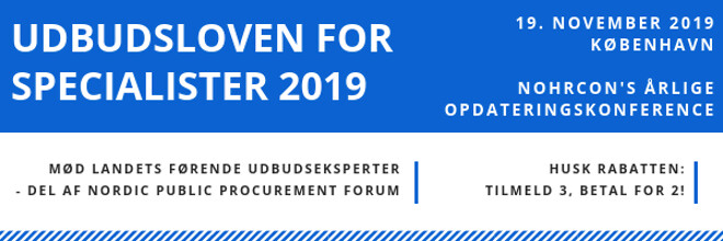 Udbudsloven for specialister 2019 - Nohrcon konference