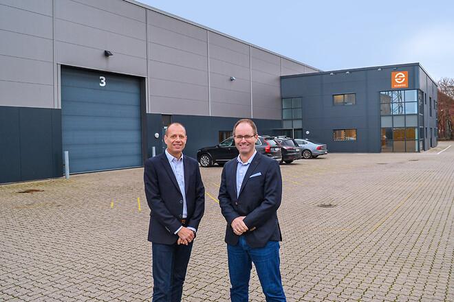 Salgsdirektør Michael Holmboe (tv) og direktør Mikael Lundgaard (th) glæder sig til januar, hvor ScanPipes nye Aarhus-team slår dørene op til den nye afdeling på Edwin Rahrs Vej i Brabrand.