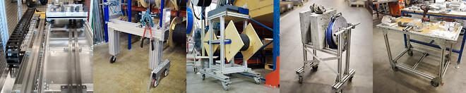 Strukturer byggda med profilsystem i aluminium är flexibla och justerbara och aluminiumprofiler passar därför utmärkt till modulär design - Movomech Mechprofile