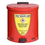 Selvslukkende affaldsspand til olieklude og olieaffald