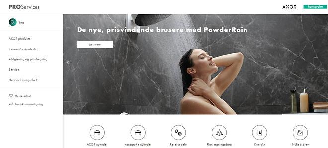 Forsiden på den nye pro.hansgrohe.dk for fagfolk