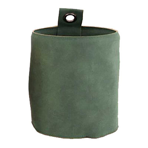 Potteskjuler i læder m øje til ophæng, Ø13,5cm, grøn