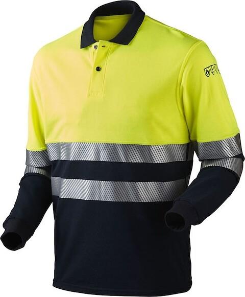 Poloshirt, multinorm, hi-vis, antistatisk & antiflame, kl. 1, 13116 - gul/marine