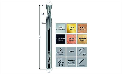 DATRON 2-skær fræser  /2-flute End Mill - DATRON \n2-skær \nfræser\nDATRON 2-flute End Mill\ndouble flute\nCNC tools\nsolectro