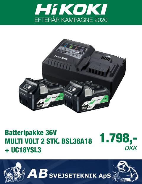 Batteripakke 36V MULTI VOLT 2 STK. BSL36A18 + UC18YSL3