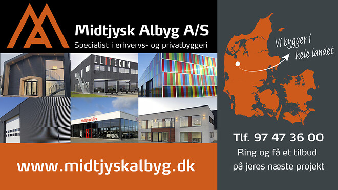 Nyt bilhus/lager til Autoforum Holstebro. Midtjysk Albyg opfører alle typer erhvervsbyggeri og industribyggeri: halbyggeri, lagerhal, domicil, værkstedshal, kontor eller bilhus/showroom.