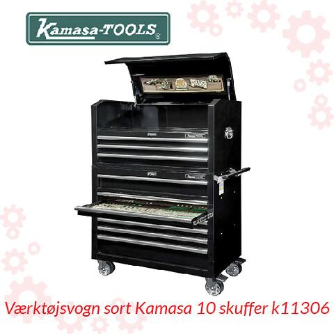 Værktøjsvogn sort Kamasa 10 skuffer k11306