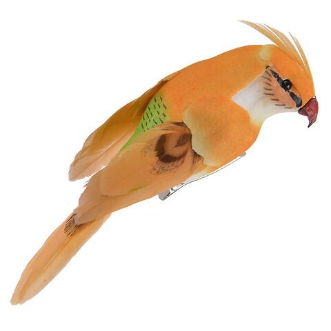 Lille Papegøje m klips, orange, 13cm