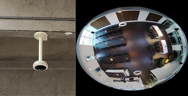 """Et \""""Fisheye\"""" kamera kan danne et 360 graders billede af et rum med et enkelt kamera."""