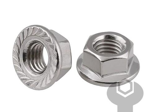 Flangemøtrik m/tænder 16 mm fzb din 6923