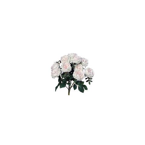Rose buket, 9 stk, hvid / rosa, kunstig blomst