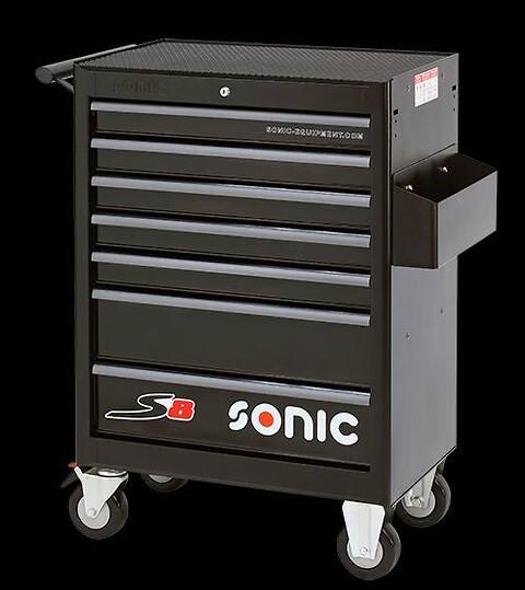 SONIC S8 værktøjsvogn inkl. 3 skuffer med 285 stk. værktøj  - Sonic, S8, værktøj, katalogholder, centrallås, hjul, skuffer, nøgle, udtræk,