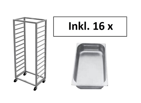Stikvogn til 16 stk 1/1 gastrobakker, Magorex, INKL. 16 GASTROBAKKER