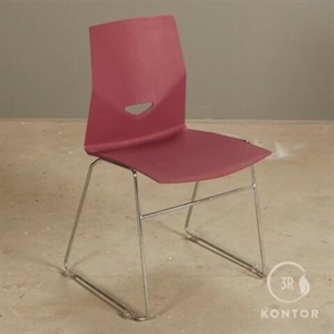 Four design konferencestol mørkerød plastic, krom meder.