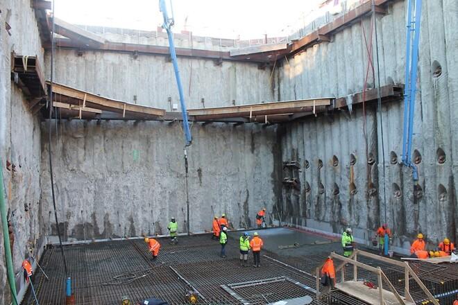 675 kubikmeter beton forvandles til f rste bundplade i stationboks ved nordhavn station. Black Bedroom Furniture Sets. Home Design Ideas