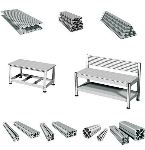 Aluminiumprofiler för snabb och enkel uppbyggnad - Arbetsbänk\nstativ\nmaskinstativ\nmaskinhuv\nfixturbänk\nbänk\nprinterbord\nbord