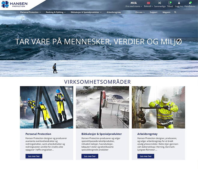 Hansen Protection nettiside