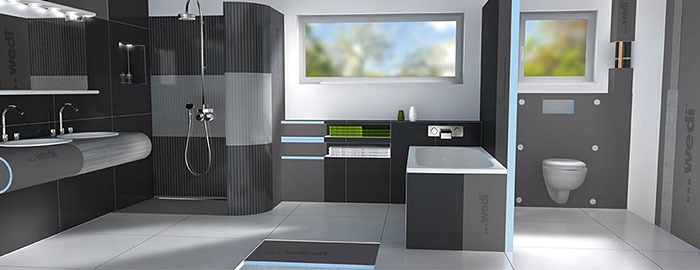 byg nemt og effektivt med wedi plader og gulvelementer building supply dk. Black Bedroom Furniture Sets. Home Design Ideas