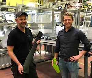 Processtekniker Mikael Nyberg (tv) och platschef Daniel Krusebrant (th).