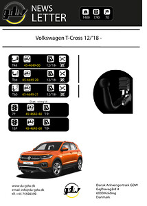 45-4649-21 VW T-Cross T60 + fast anhængertræk\nfra Dansk Anhængertræk