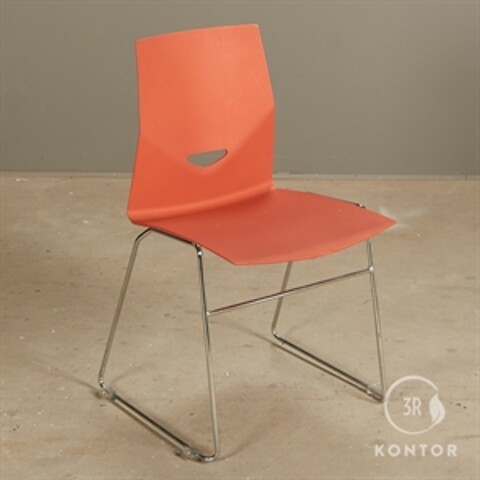 Four design konferencestol. orange plastic. krom meder.