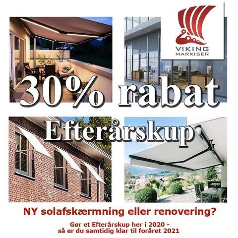 30% rabat, Efterårskup - Viking Markiser\n30%rabat\nefterårskup\nsolafskærmning