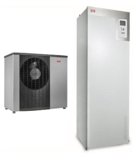 Varmepumper - bæredygtigt varmt vand - Luft-vand varmepumpe\n(t.v.) og\njordvarmepumpe\n(t.h.).