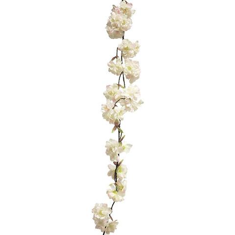 Kirsebærgrens ranke, Creme/pink, 165cm, Kunstig Blomst