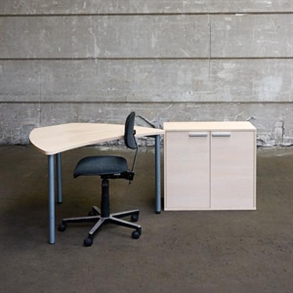 3R komplet iværksætter arbejdsplads, hvid eg - 1