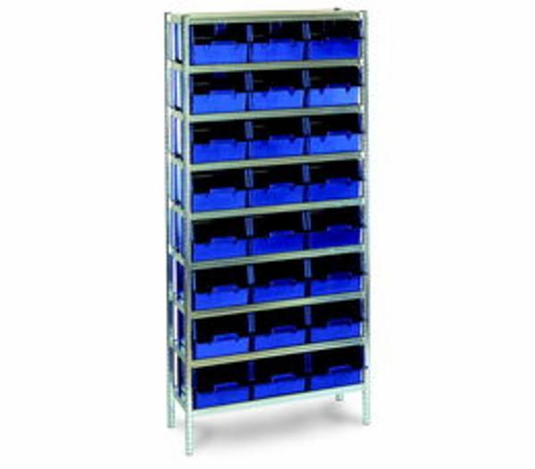 Lagerreol komplet  24-31 m/24 blå plastkasser