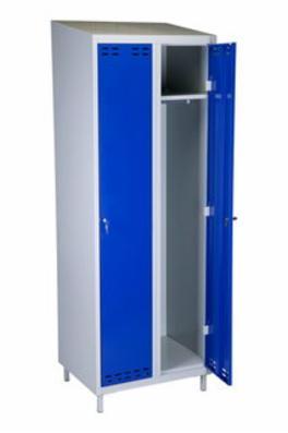 Omklædnings metalskab  model SWED2 m. 2 døre grå og blå