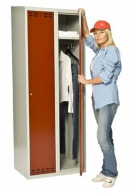 Omklædnings metalskab model SWED2 m. 2 døre grå/rød
