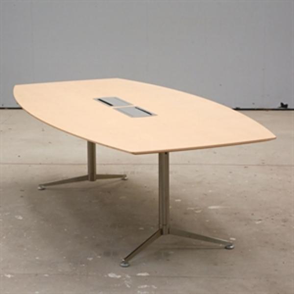 Konferencebord. Tøndeformet plade i bøg med 2 rosetter med strøm.