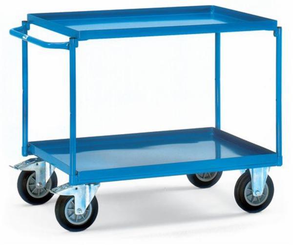 Bordvogn TW 1X af plastbelagt stål, med 2 stålkar 700 x 1000 mm og bremse