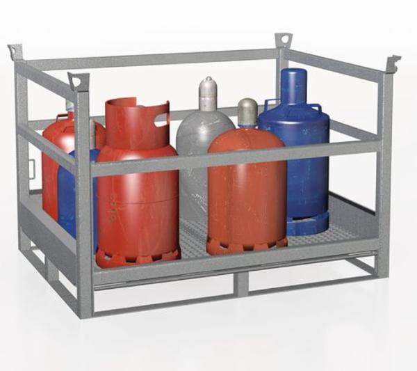 Gasflaskepalle af galvaniseret stål, op til 12 flasker Ø 300 mm eller 20 flasker Ø 229 mm , GFP-11.5