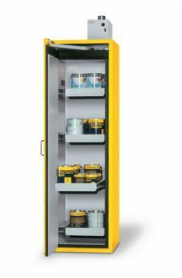 Brandsikker farligt-gods-skab Udgave med 4 udtrækskar, dør venstrehængslet, gul, Type G 64