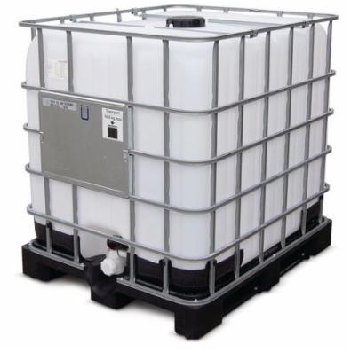 IBC 1000 liter, med UN-godkendelse på plastpalle, med kuglehane og udluftningsventil i låget